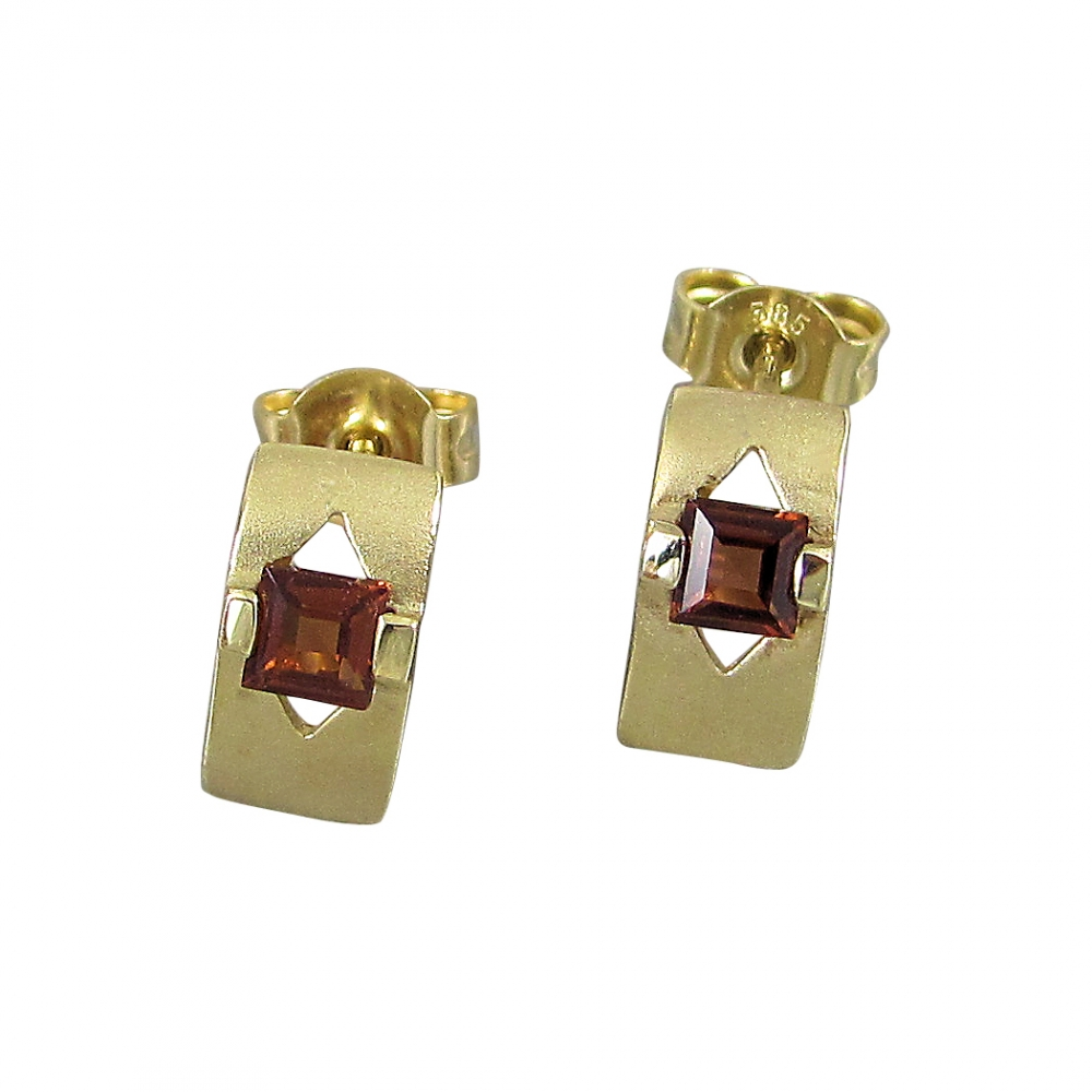 Schmuck-Michel Damen Ohrstecker Gold 585 Granat Carré 0,6 Karat (8219)